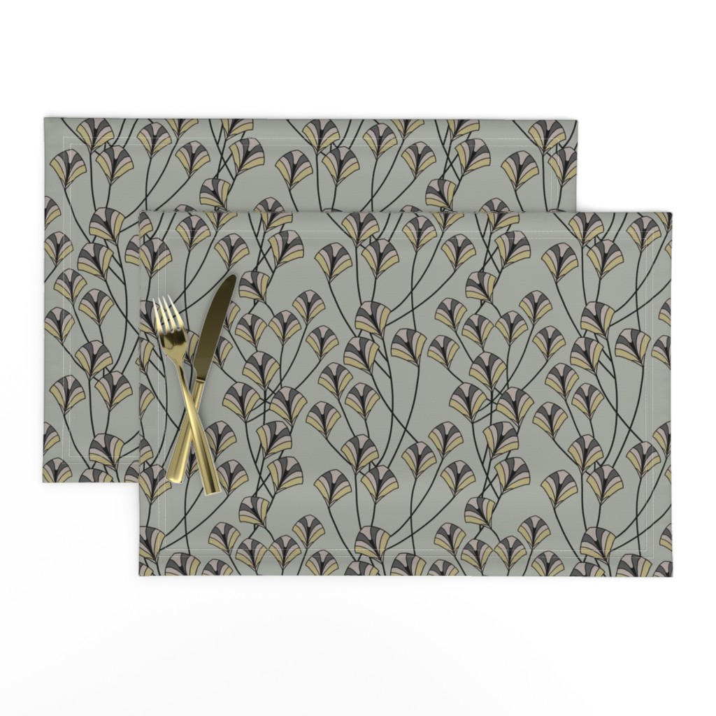 Lamona Cloth Placemats featuring Art Deco Floral by artonfabric