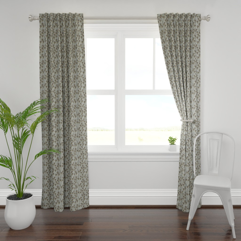 Plymouth Curtain Panel featuring Art Deco Floral by artonfabric
