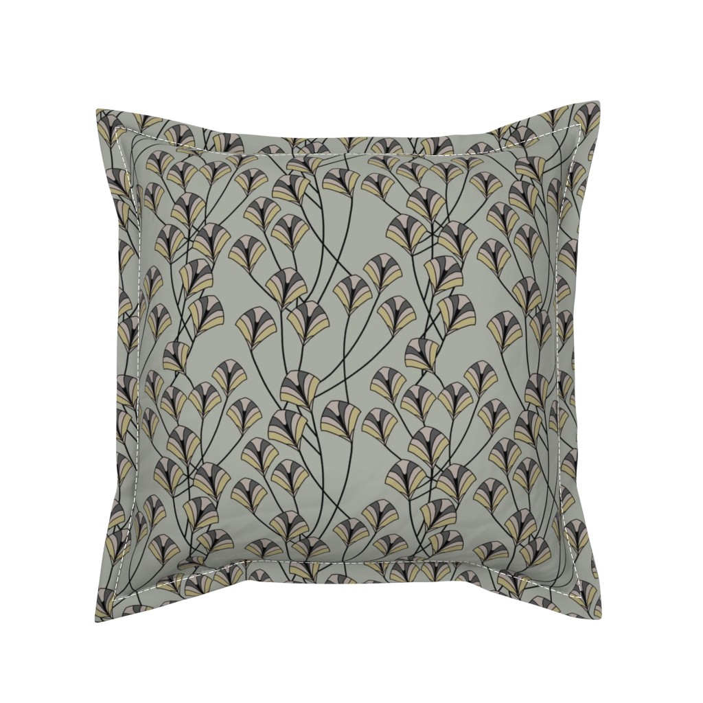 Serama Throw Pillow featuring Art Deco Floral by artonfabric