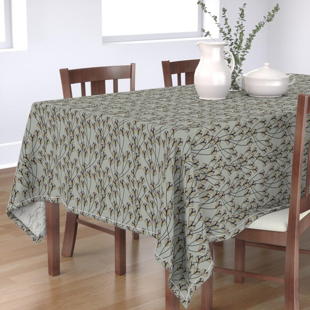 Bantam Rectangular Tablecloth featuring Art Deco Floral by artonfabric