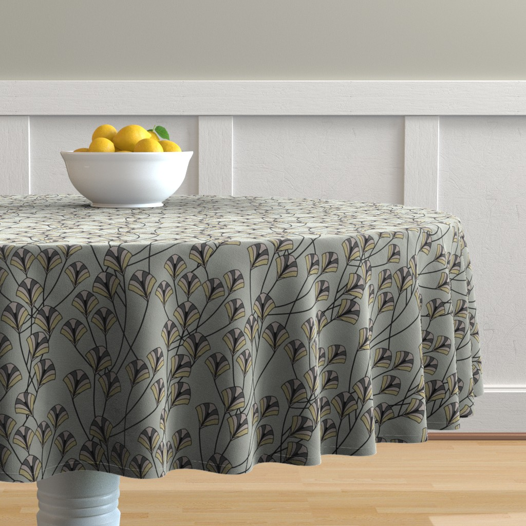 Malay Round Tablecloth featuring Art Deco Floral by artonfabric