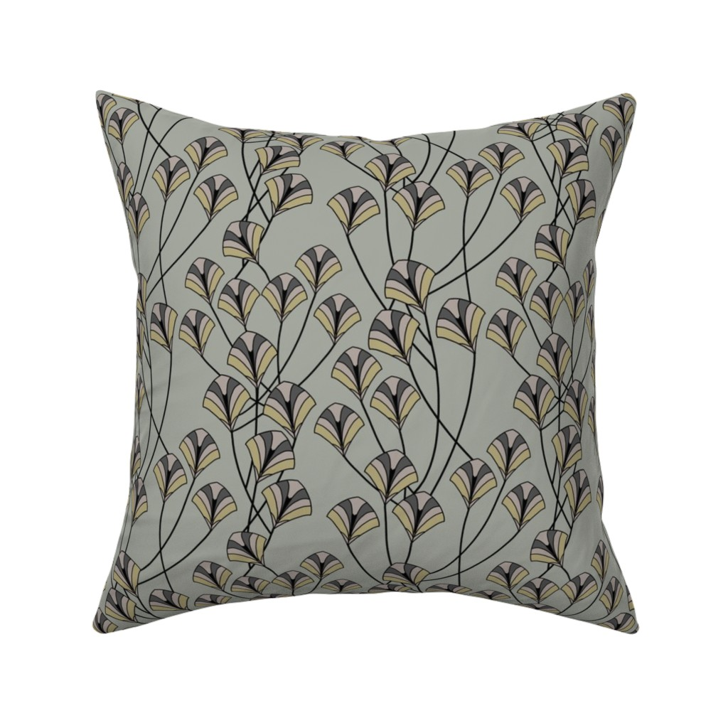 Catalan Throw Pillow featuring Art Deco Floral by artonfabric