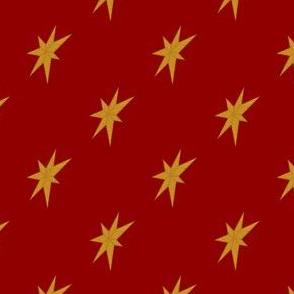 Golden Stars on Dark Red