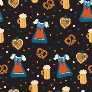 Ready for Oktoberfest! Dirndl dresses, beer, and pretzels on black