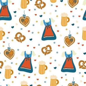 Dirndl dress, beer, gingerbread hearts, and pretzels. German Oktoberfest print.