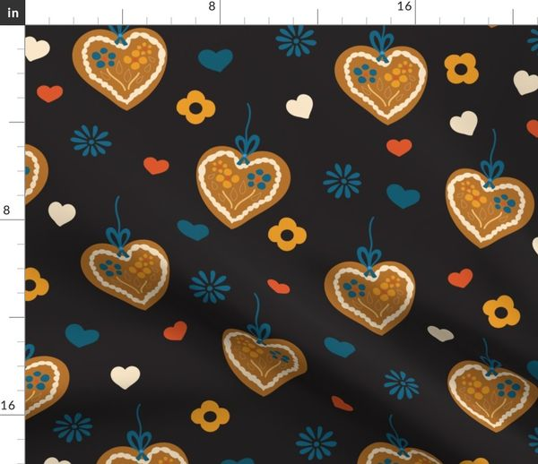 Colorful Fabrics Digitally Printed By Spoonflower Gingerbread Hearts On Black