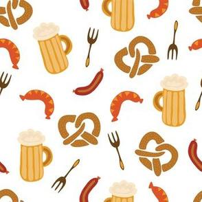 Oktoberfest print. Beer, sausages, pretzels and forks