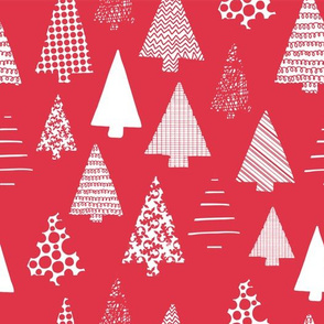 White textured Christmas tree silhouettes on red