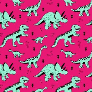 Cool Scandinavian kids dino friends dinosaur pattern girls fuchsia pink mint