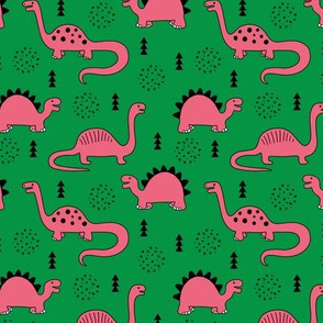 Adorable quirky dino illustration geometric dinosaur animals for kids black and white girls green pink SMALL