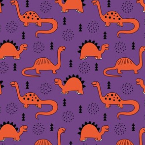 Adorable quirky dino illustration geometric dinosaur animals for kids black and white girls orange purple SMALL