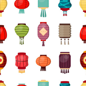 Chinese lantern seamless pattern