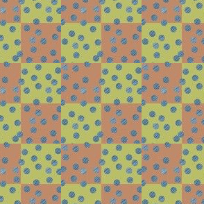 AB_1027_B Blue texture polka dots on green and orange surface