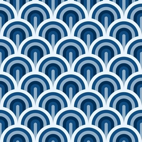 Classic Blue classic Art Deco waves Fabric