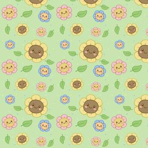 Kawaii Flowers  on Green