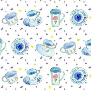 Tea Cups in Blue