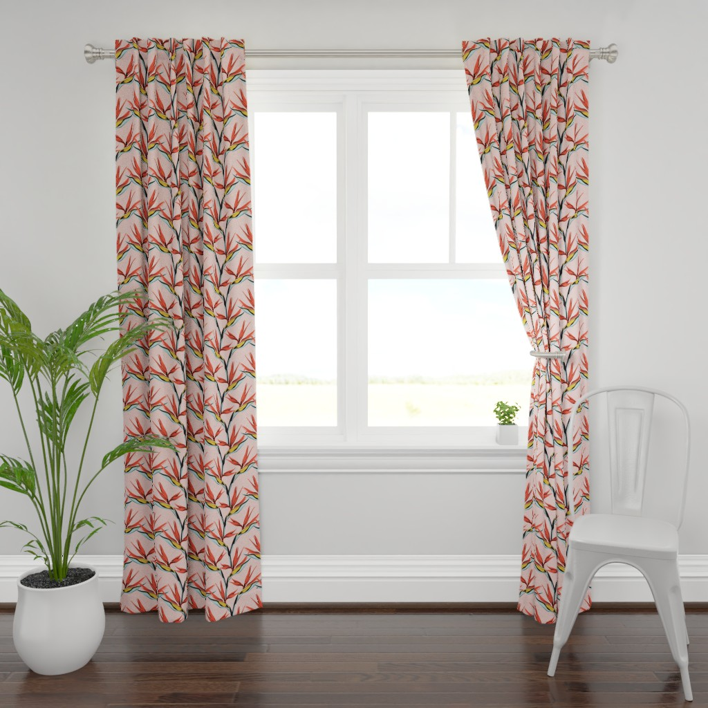 Plymouth Curtain Panel featuring Bird of Paradise -pink by lapetitelecour