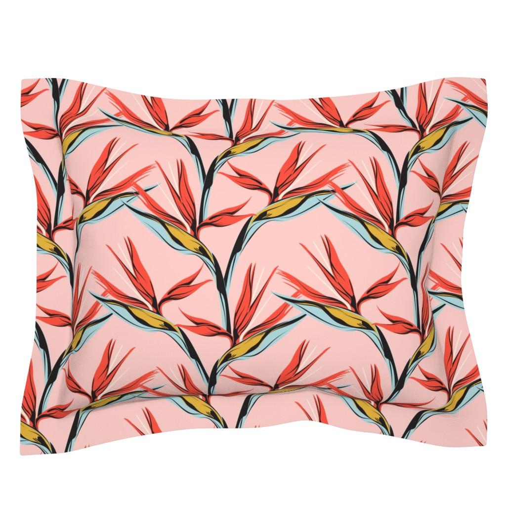 Sebright Pillow Sham featuring Bird of Paradise -pink by lapetitelecour