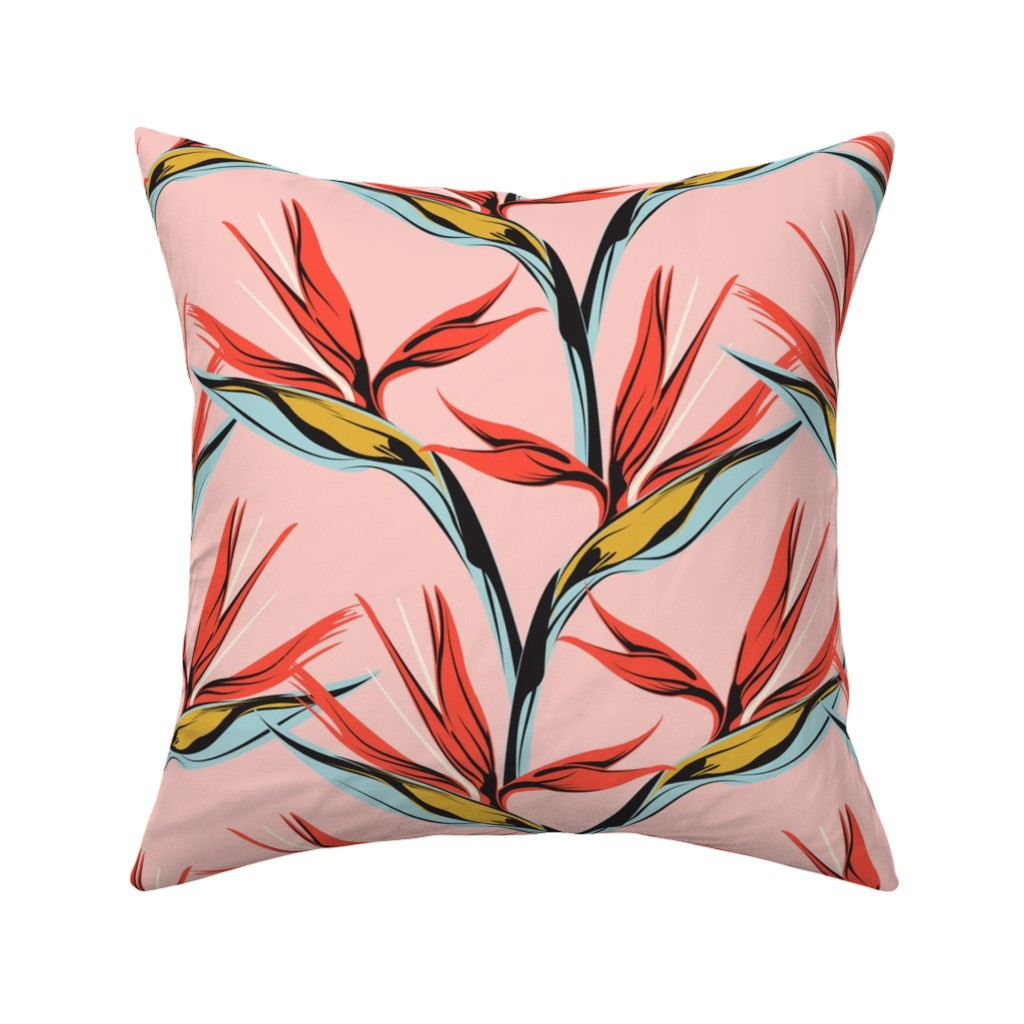 Catalan Throw Pillow featuring Bird of Paradise -pink by lapetitelecour