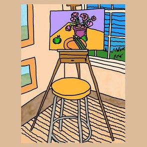 OB_11111_B Art Easel in Studio with Still-life on Sand  Background
