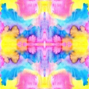 Tie Dye colorful neon watercolors kaleidoscope Pillow Fabric