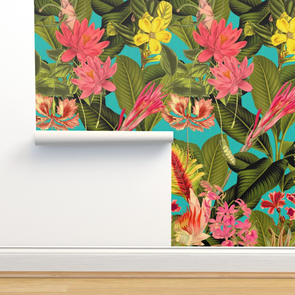 Isobar Durable Wallpaper featuring Palm In Palm ~ Floral Fantastico ~ Calypso  Linen Luxe  by peacoquettedesigns