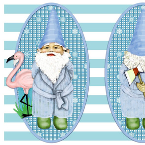 Gnome In Blue Robe With Flamingo