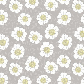 Bold hand-drawn daisy and intricate flower bud design in soft grey, yellow and white.