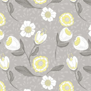 Spring garden in soft grey and lemon yellow