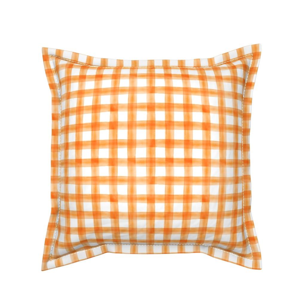 "Serama Throw Pillow featuring (3/4"") watercolor plaid || orange  by littlearrowdesign"