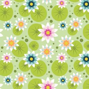 Lotus flower on green