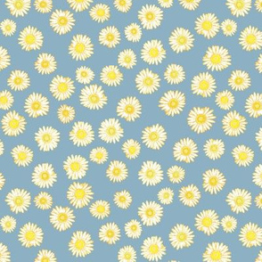 Daisies unchained -- in bright yellow on a pale blue ground