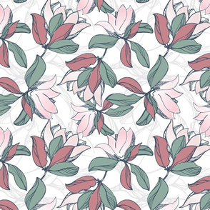 Magnolia in dusty pink and olive green.