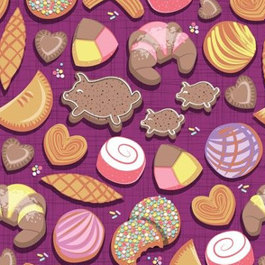 Small scale // Mexican Sweet Bakery Frenzy // pink background // pastel colors pan dulce