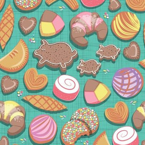 Small scale // Mexican Sweet Bakery Frenzy // teal background // pastel colors pan dulce
