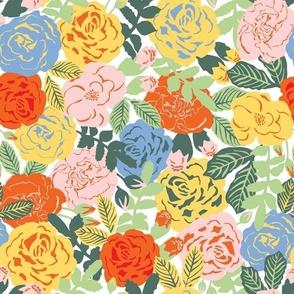 Retro Roses on white / large scale