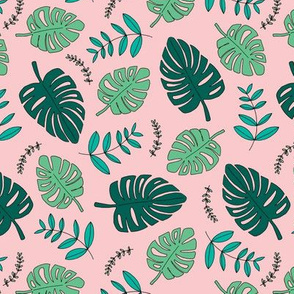 Botanical fall hawaii surf garden with monstera and palm leaves green mint pink