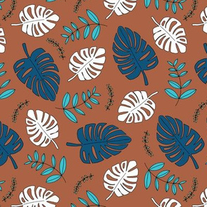 Botanical fall hawaii surf garden with monstera and palm leaves green dark winter