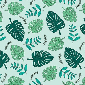 Botanical fall hawaii surf garden with monstera and palm leaves green mint