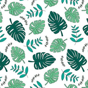 Botanical fall hawaii surf garden with monstera and palm leaves green on white