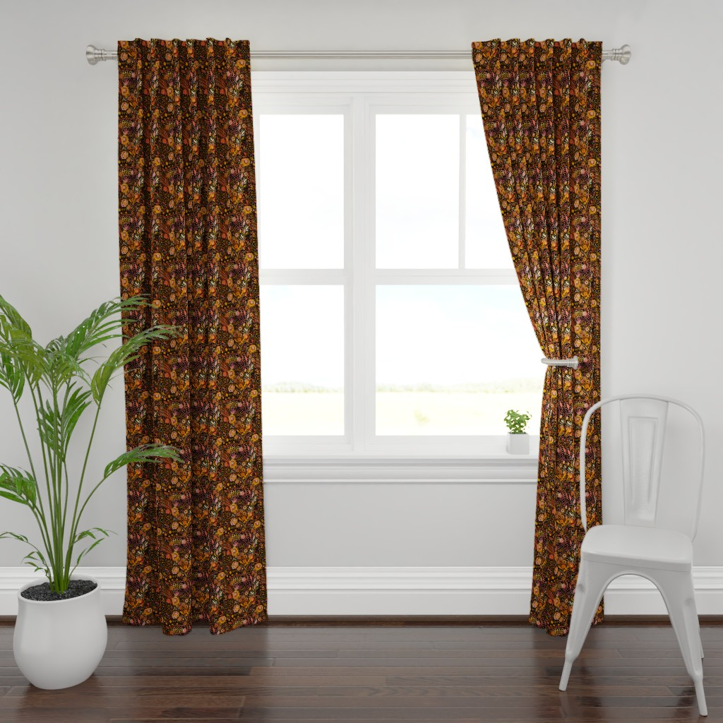 Plymouth Curtain Panel featuring Fall_Floral_Focal_Jamie_Kalvestran by jamie_kalvestran_scrap-bags