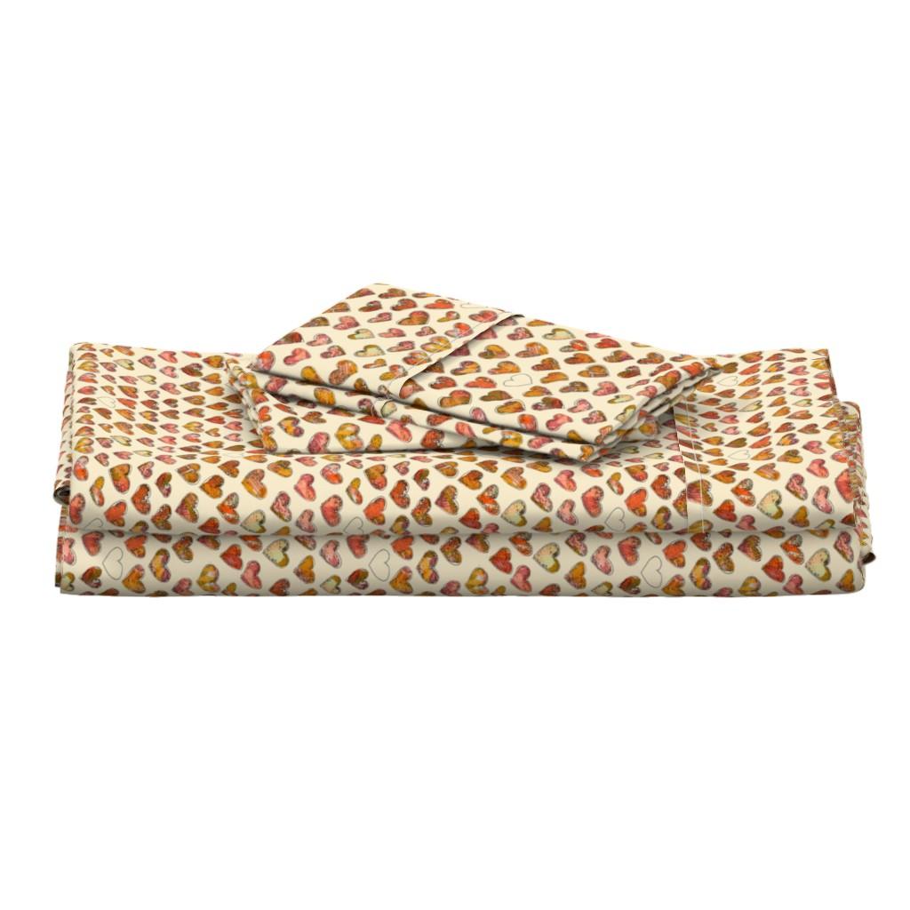 Langshan Full Bed Set featuring Fall_Floral_Hearts_LT-Jamie_Kalvestran by jamie_kalvestran_scrap-bags
