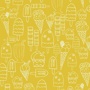 Ice Cream And Lollies Yellow White