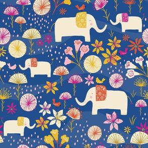 Elephants in cerrado in blue