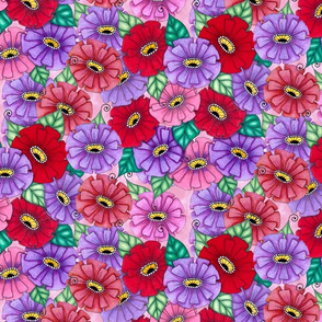 Zinnias in red and pink