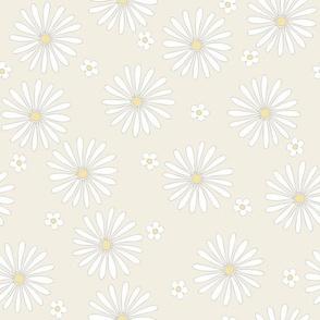 White Daisy Yellow Polka Dot