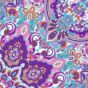 paisley kaleidoscope floral leaf symmetry turquoise purple