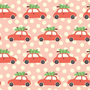 Vintage Christmas trees on car roof pink