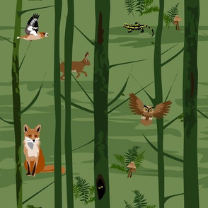 in the forest 2 - fox, owl, rabbit, hawfinch and salamander