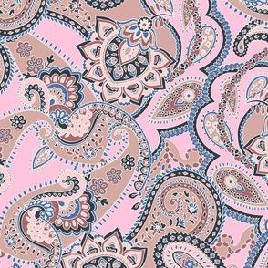 Paisley sixties hippie swirl tan pink